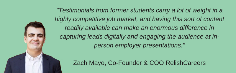 Alumni Testimonials quote by Zach Mayo