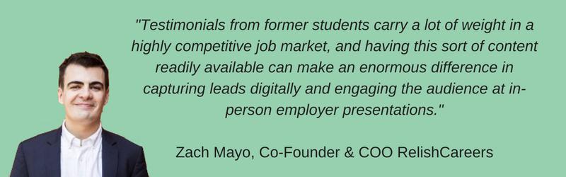 Alumni Testimonials quote by Zach Mayo
